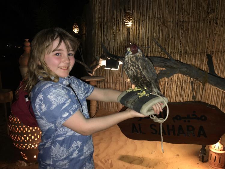 Flea holding a falcon